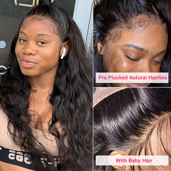 Lace Frontal Wigs 130% Density Natural Wave Human Hair