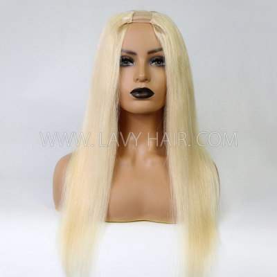 613 Blonde Color 130% Density U-part Lace Frontal Wig Straight Hair Human Hair