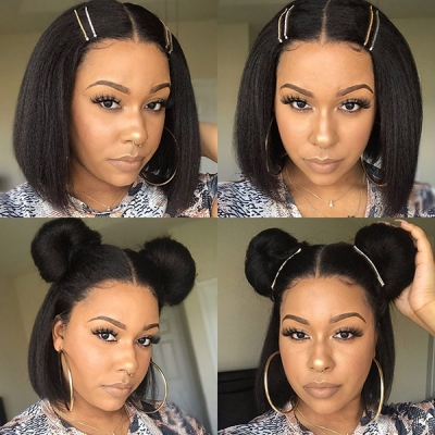 Lace Frontal Bob Wig 150% Density Kinky Straight Hair Human hair