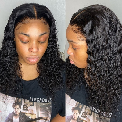 Lace Frontal Bob Wig 180% Density Curly Human Hair LFW-BCC