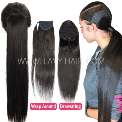 Various Hair Style Wrap Around Drawstring Ponytail Clip-in Human Virgin Hair Extension