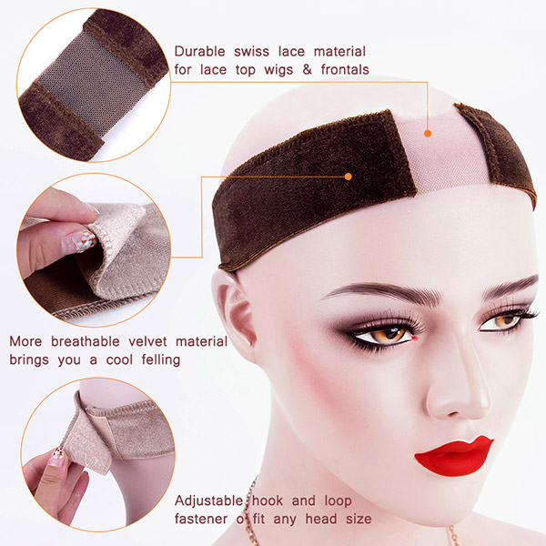 Flexible Velvet Head Band With Lace Wig Grip Scarf Comfort Adjustable Fastern Wig Install Tools