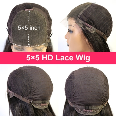 HD Lace 5*5 Lace Closure Wig 180% Density 100% Human Hair