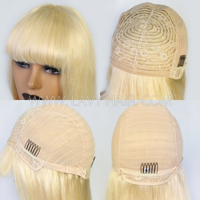 613 Blonde Human Virgin Hair Wig With Bangs 130% & 300% Density Full Machine Made Wig No Lace