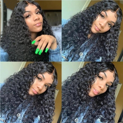 360 Lace Frontal Wigs 130% Density Deep Wave Human Hair