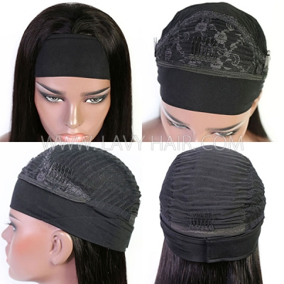 Headband Wig Human Virgin Hair No Glue No Lace Natural Color