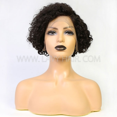 180% Density 13*4 Lace Frontal Short Bob Wig Pixie Curly Preplucked Human Hair Pixie XX02