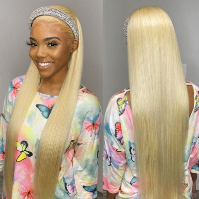 613 Blonde Color Rhinestone Encrusted Headband Wig Human Virgin Hair Not Glue Not Lace Wig  With Adjustable Velcro