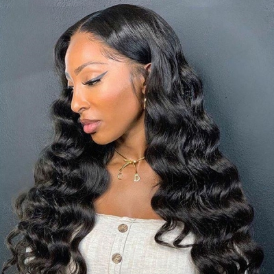 180% Density  Full Lace Wigs Loose Wave Human Hair