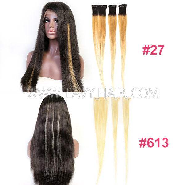 #27 Color And #613 Blonde Color Clip Ins Human Hair