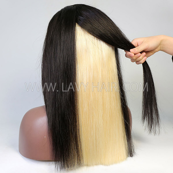 180% Density Hidden Blonde Glam Highlight Color Lace Frontal Wig Straight Hair