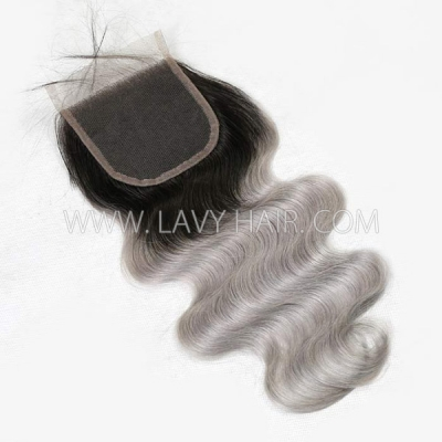 "Lace top closure 4*4"" body wave #1B/grey Human hair medium brown Swiss lace"