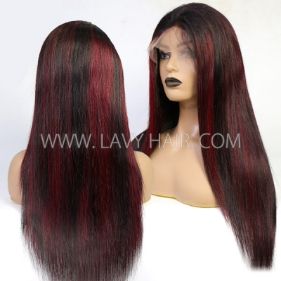 130% Density 1B/99J Highlight Color Lace Frontal Wig Straight Hair