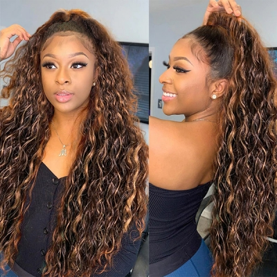 Highlight P4/27 Color 130% Density Loose Deep Wave Human Hair Lace Frontal Wigs