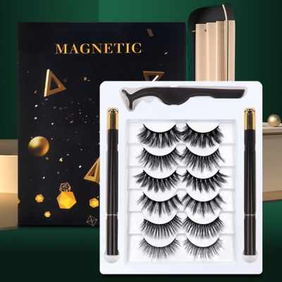 A set of 5 Pairs 3D False Eyelashes With Press-on Eyeliner