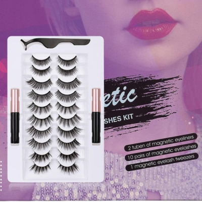 10 Pairs A Set 3D False Magnetic Eyelashes With Eyeliners&Tweezer