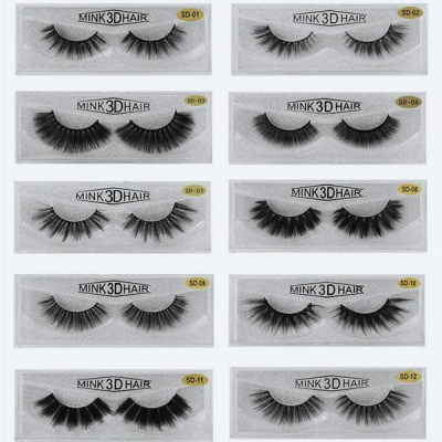 1 Pair 3D Mink Hair False Eyelashes SD Series (20 size choices ,leave message or by random)