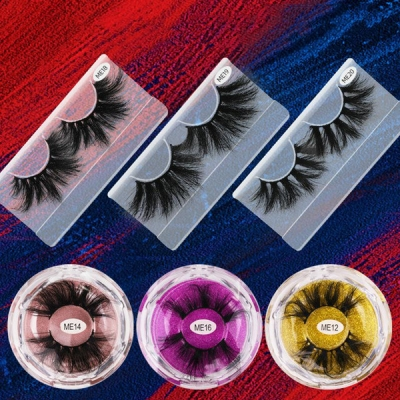 1 Pair 3D Mink Hair False Eyelashes ME Series 25mm (20 size choices ,leave message or by random)